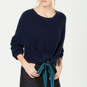 Almost Famous Navy Ribbon Tie Cropped Sweater NWT